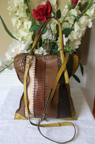 JAMIN PEUCH PATCHWORK EMBOSSED LEATHER TOTE BAG