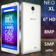 "BLU Neo XL 6.0"" HD N110U 8GB 8MP 4G H+ Dual SIM Android Studio UNLOCKED - WHITE"
