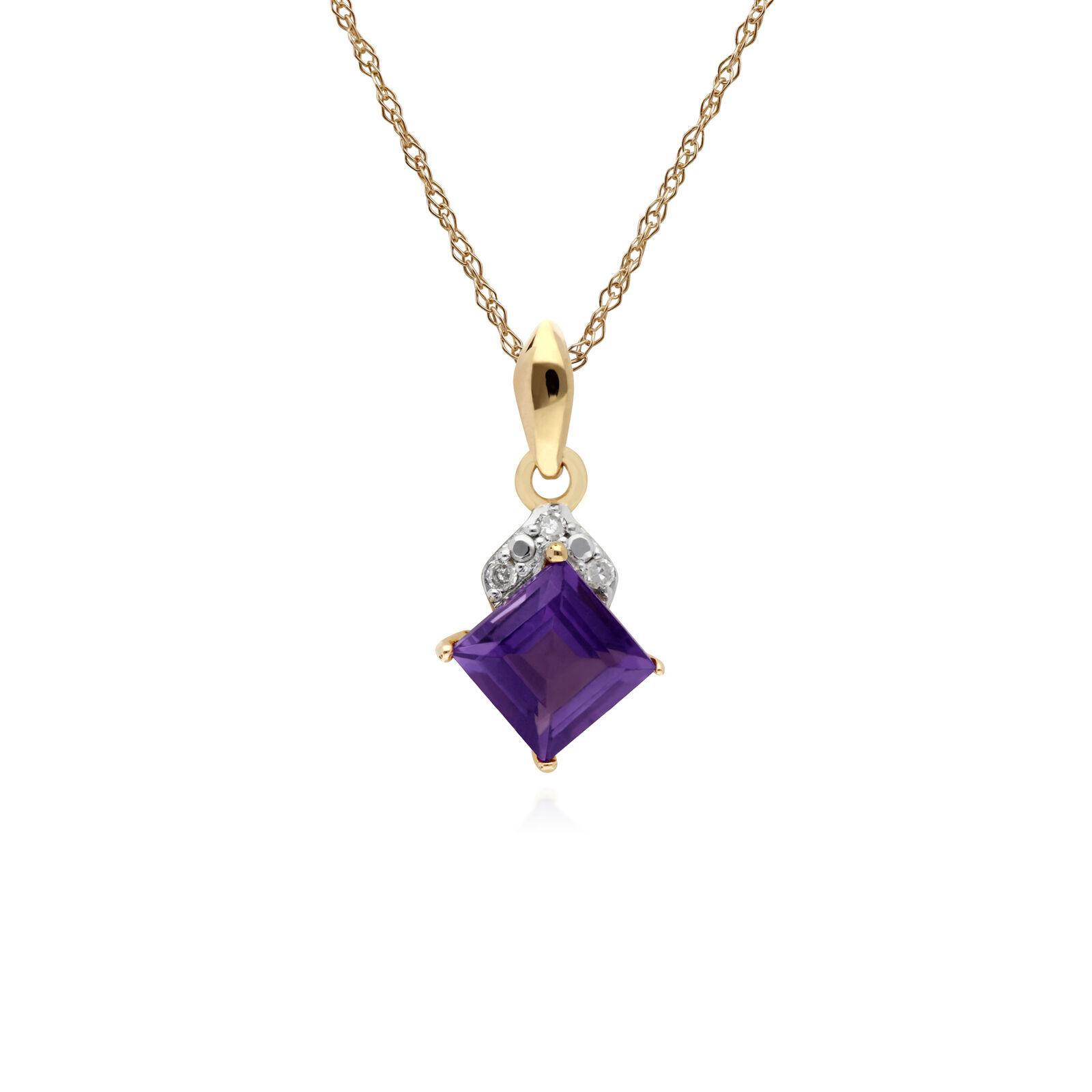 Gemondo 9ct Yellow gold Amethyst & Diamond Square Pendant on 45cm Chain