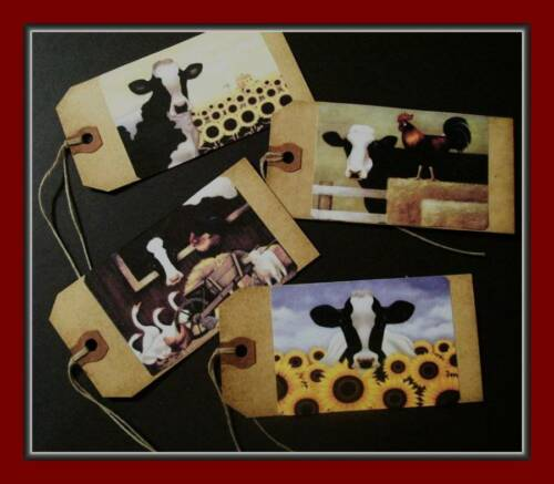 SET OF EIGHT PRIMITIVE HANG TAGS BARNYARD COWS AND FRIENDS