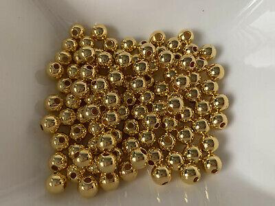 100 gold Kugeln Rund Zwischenperle 8 mm Daisy Spacer Kupferer Plastik R333