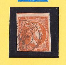 Alt Griechenland-Königreich-Hermeskopf-10 Lepta-1875/80-orangerot-gebr.