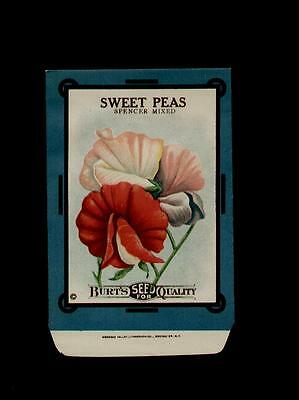ANTIQUE 1910's BURT'S SWEET PEAS LITHO SEED PACKET ~RARE~ NO SEEDS