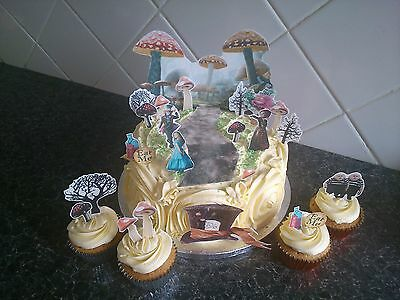 Alice in Wonderland Enchanted Forest Scene Wafer Edible Cake Decoration Set