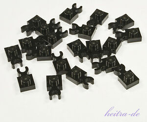 LEGO-20-x-Platte-1x1-mit-O-Clip-waagerecht-schwarz-4085d-NEUWARE