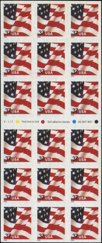 2003 37c Flag, SA, Pane of 18 from ATM Scott 3637 Mint