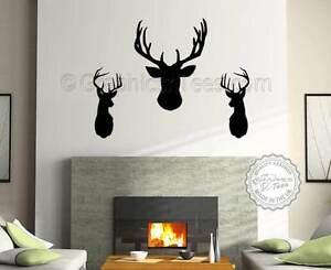 3 elegante Stags HEAD Wall Sticker, montaggio a parete di Casa Murale Decalcomania Decor  </span>