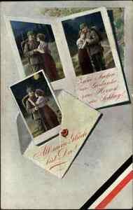 Militaria-Postkarte-Soldat-Pickelhaube-Motiv-Feldpostbrief-Soldaten-Fotos-Frau