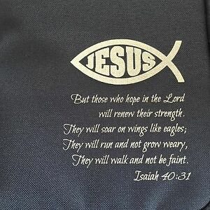 Buy 1 Get 1 Free Christian BIBLE Bag WITH Jesus fish Church Navy Blue