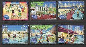 Singapore-2018-NATIONAL-DAY-EVENING-IN-SINGAPORE-Complete-6V-MNH