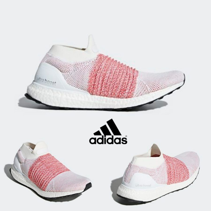 Adidas Ultra Boost Laceless Shoes Running White Pink BB6136 SZ 4-11