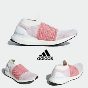 9161432b7ae Adidas Ultra Boost Laceless Shoes Running White Pink BB6136 SZ 4-11 ...