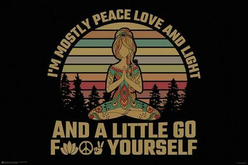 PEACE LOVE LIGHT FUNNY POSTER 24x36-11445 AND GO F*CK YOURSELF