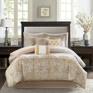 Beautiful Modern Elegant Gold Beige Taupe Scroll Comforter