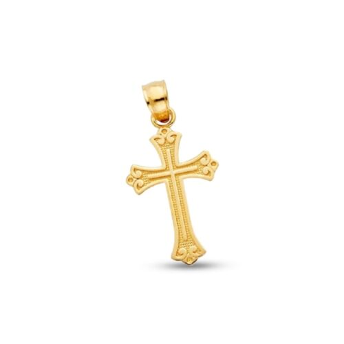 Budded Cross Crucifix Pendant Solid 14k Yellow Gold Religious Charm Polished
