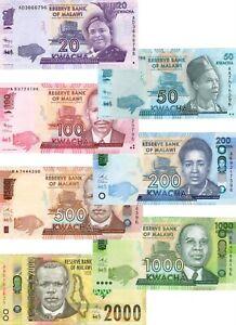 UNC-MALAWI-Set-20-50-100-200-500-1000-2000-Kwacha-2012-2016-P-57-69