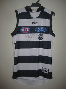 GEELONG-JOEL-SELWOOD-HAND-SIGNED-HOME-JERSEY-UNFRAMED-PHOTO-PROOF-amp-C-O-A