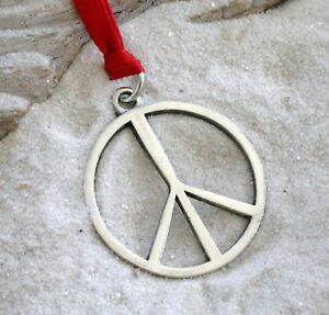 PEACE SIGN 60s HIPPIE Pewter Christmas ORNAMENT Holiday   eBay
