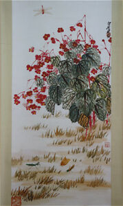 RARE-Chinese-Hanging-Scroll-amp-Painting-Flowers-amp-Insects-By-Qi-baishi-CHX9