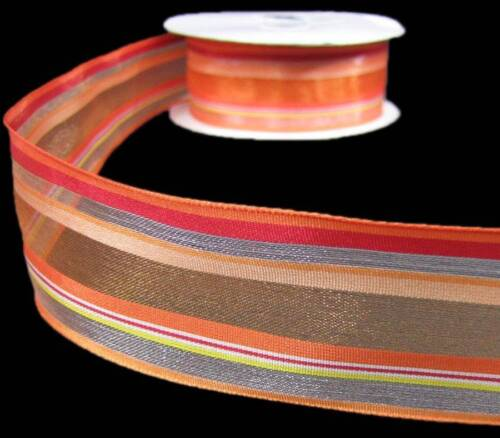 "5 Yds Orange Red Yellow Devan Striped Semi Sheer Ribbon 1 1//2/""W45,35,25,5"