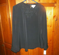 Gorgeous Joanna Black Beaded Blouse Woman's Size Large