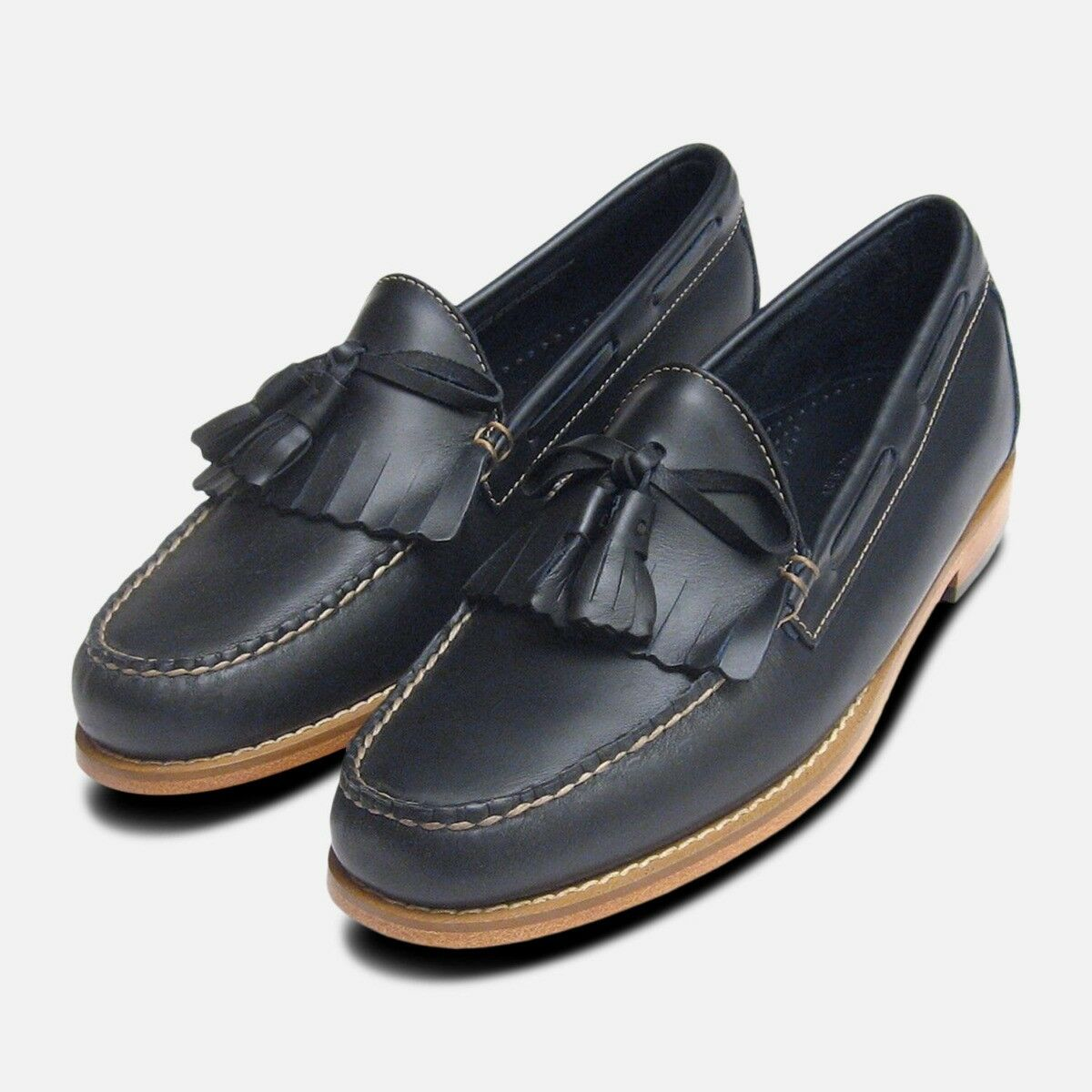 Navy Blau Waxy Leather Mens Fringe & Tassel Loafers by Bass Weejuns