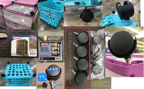 Sterilite Crate CASTER WHEELS STORAGE BIN SWIVEL Office Universal   1 Pack Of 4