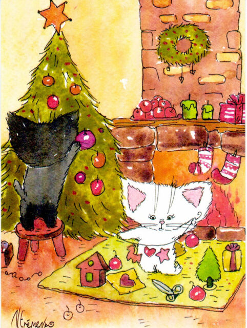 CATS DO CRAFTS FOR X-MAS TREE DECORATION Modern Russian postcard by A.Yeremenko