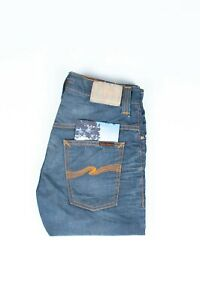 30393 Nudie Jean Mince Finn Clean Acier Grisâtre Bleu Hommes En Taille 29/32