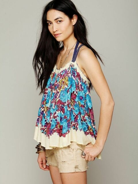 63f8d4023b6c5 188282 NWD Free People FP One Living Large Floral Sleeveless Blouse Top XS S