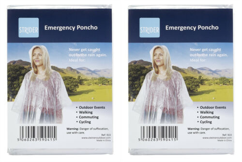 4 x CLEAR WATERPROOF EMERGENCY RAIN PONCHO PONCHOS WITH HOODS RAINCAPE PACAMAC
