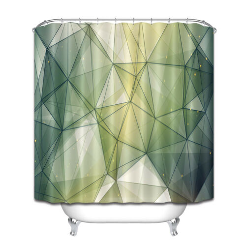 Abstract Geometric Triangles Lines Shower Curtain Set Bathroom Polyester Fabric