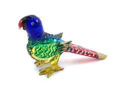 MINIATURE PARROT GLASS BLOWN HAND GLASS ART PARROT FIGURINE ANIMAL COLLECTION