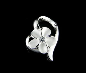 STERLING-SILVER-925-HAWAIIAN-PLUMERIA-FLOWER-SHINY-FLOATING-HEART-PENDANT-CZ
