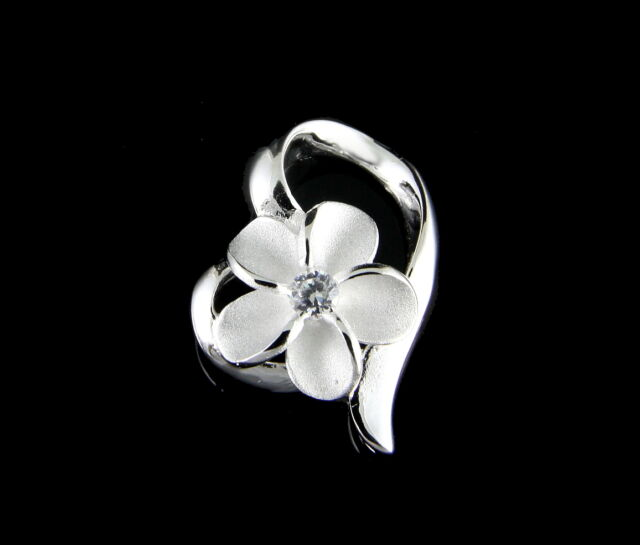 STERLING SILVER 925 HAWAIIAN PLUMERIA FLOWER SHINY FLOATING HEART PENDANT CZ