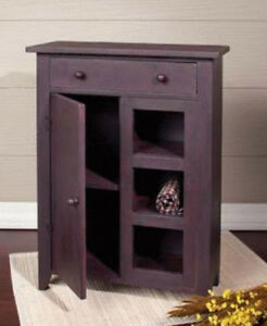 small wooden cabinet primitive small cabinet door drawer open shelves rust 26422
