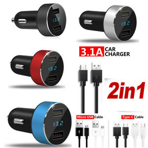 3-1A-Dual-USB-Car-Charger-2-Port-LCD-Display-12-24V-Cigarette-Socket-Lighter