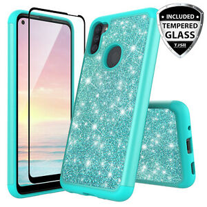 For Samsung Galaxy A11 Phone Case Cover Hard Bling Glitter Armor Tempered Glass Ebay