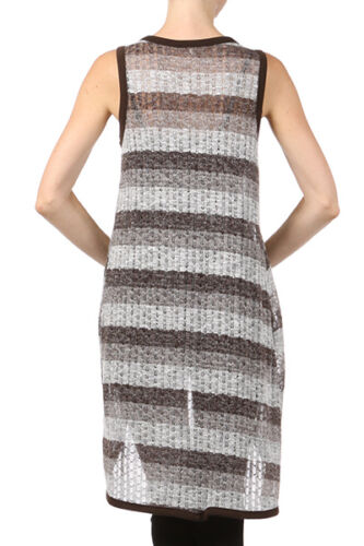 Women/'s Summer Sleeveless Vest  Striped Taupe /& Ivory Lightweight Long Cardigan