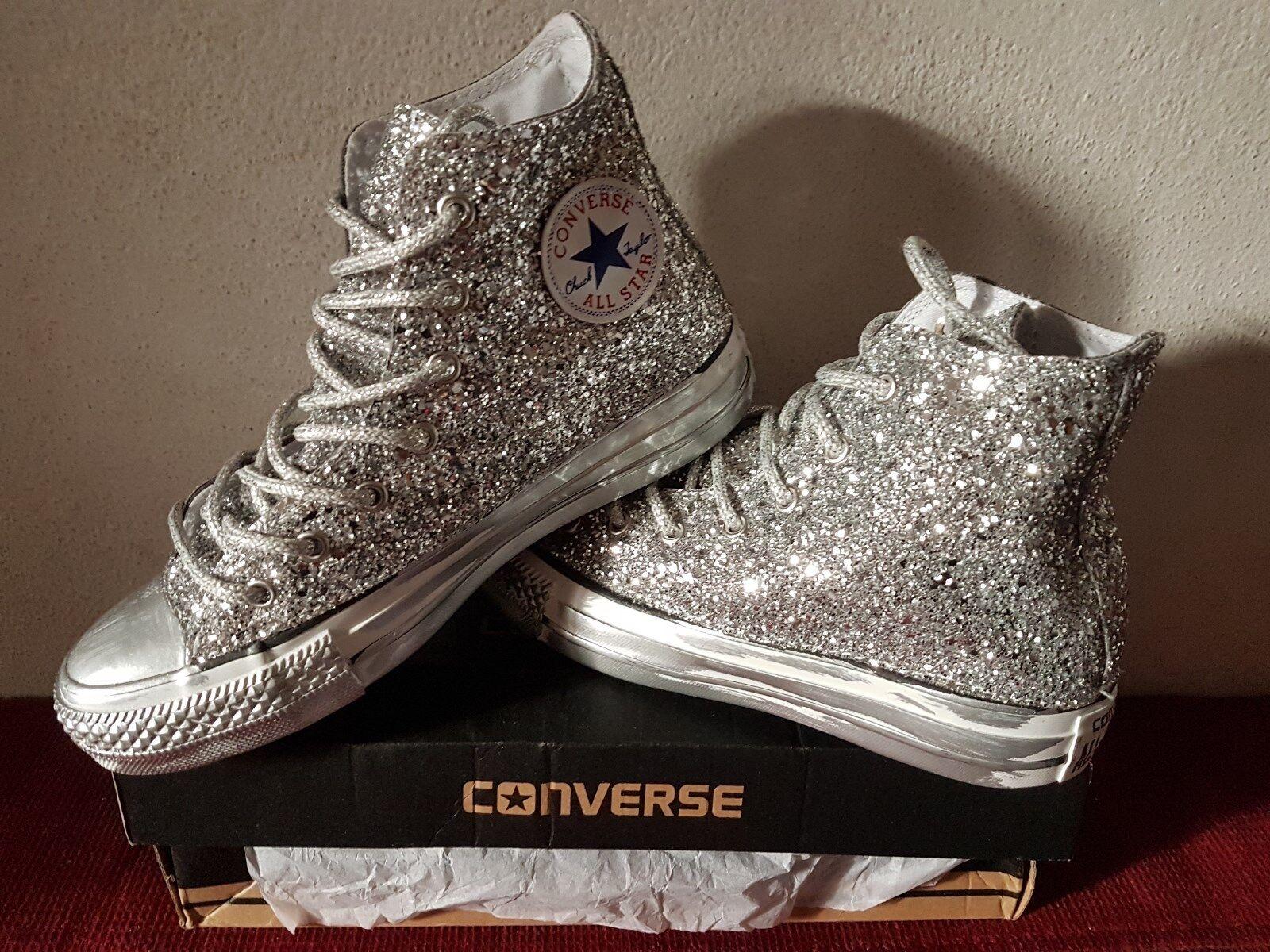 converse all star con glitter argento completa completa completa e con lacci argentati e sporcatur 2d4c0e