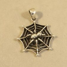 .925 Sterling Silver SPIDER ON SPIDERWEB PENDANT Halloween Web Insect Bug PW84