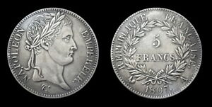 COPIE-Piece-plaquee-ARGENT-SILVER-Plated-Coin-5-Francs-Napoleon-1807-A