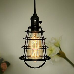 Coolwest mini vintage edison hanging caged pendant light fixture image is loading coolwest mini vintage edison hanging caged pendant light aloadofball Image collections