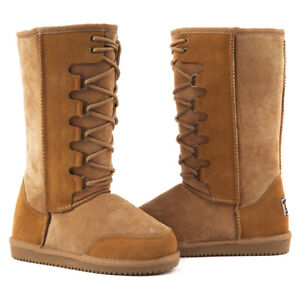 efe1dc5fa27 Details about Originals Ugg Australia Lace Front Long Snow Boot Chestnut 9  10 11 12 Men Women