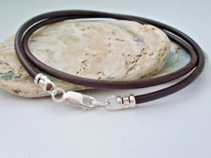Hand Made.925 Sterling Silver and 3mm Natural Leather Cord Bracelet-Custom size