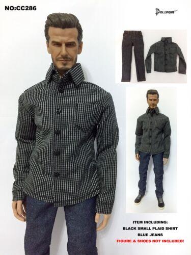 Black Small Plaid Shirt /& Blue Jeans set for HOT TOYS Body CC286 1//6 Clothing