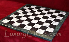 Large 18in Marble Chess Board, NEW, with 2in Black & White Squares, Green Border