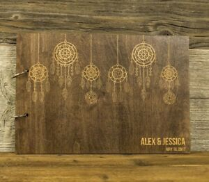 Personalized-Wooden-Wedding-Guest-Book-Rustic-Dream-Catcher-Gift-Newlyweds
