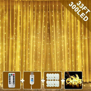300-LED-Fairy-String-Lights-Curtain-Window-Wedding-Party-Decor-Remote-In-Outdoor