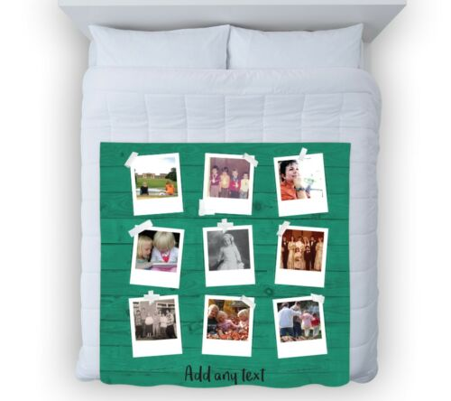 Large Warm Sofa Fleece Personalised Polaroid Wood Effect Photo Fleece Blanket